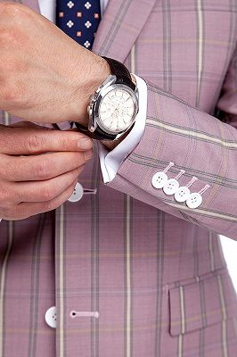 New Coming Plaid Pink Mens Suits with Flap Pocket_6