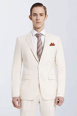 Modern Cream Slim Fit Prom Suits Cheap | Notch Lapel Custom Casual Leisure Suits for Men_2
