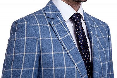 Light-colored Plaid Blue Fashionable Mens Suits for Formal_5