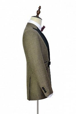 Retro Small Checked Prom Suits Cheap | Knitted Button Black Peak Lapel Wedding Suits for Men_4