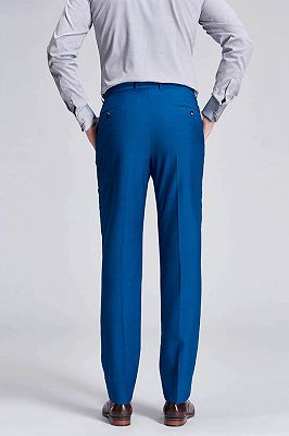 Emiliano Stylish Solid Blue Straight Suit Pants for Men_3