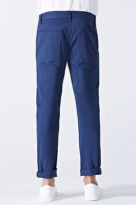 Modern Curl-Up Blue Cotton Solid Mens Ninth Pants for Leisure Suits_2