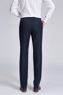 Stylish Blue Dots Dark Navy Suit Pants for Weddings_3
