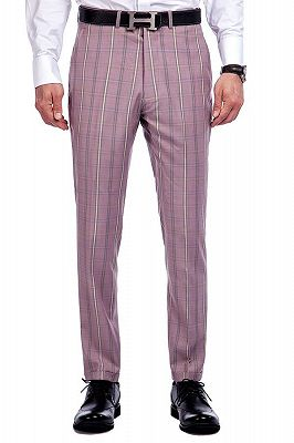 New Coming Plaid Pink Mens Suits with Flap Pocket_8