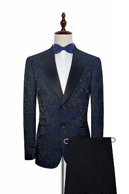 Dark Navy Jacquard Prom Suits Cheap | Black Silk Peak Lapel Tailored Mens Suits for Weddings_1