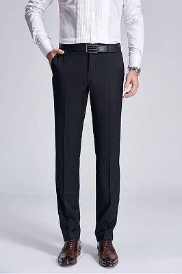Classic Light Stripes Wedding Pants for Groom | Trey Formal Black Suit Pants_1