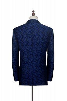 Luxury Blue Floral Patter Tuxedos for Wedding | Black Velvet Peak Collar Cheap Prom Suits_2