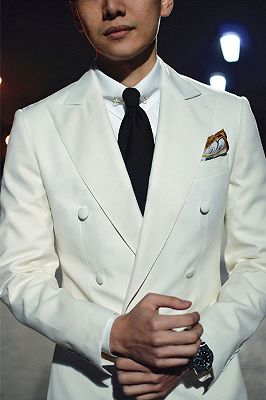 Modern Double Breasted Wedding Suits for Groom | Black and White Mens Suits_4