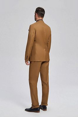 Silas Stylish Patch Pocket Gold Brown Mens Suits for Formal_3