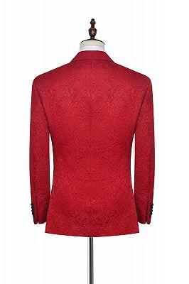 Bright Red Jacquard Peak Lapel with Black Silk Unique Mens Suits_3