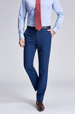 Stylish Pinstripes Blue Suit Pants for Men_2