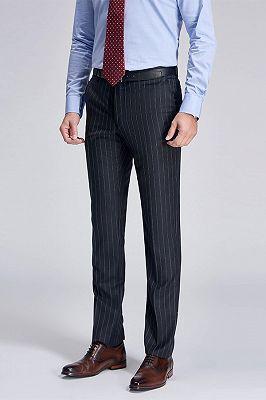 Gentlemanly Light Grey Stripes Straight Dark Grey Suit Pants for Men_2