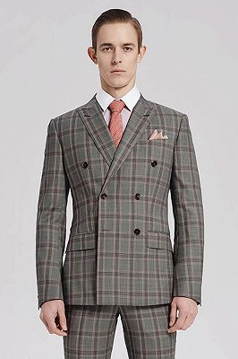 Custom Made Pink Checked Pattern Double Breasted Grey Mens Suits Sale for Business_2