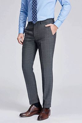 Check Pattern Modern Grey Pants for Business Suits_2