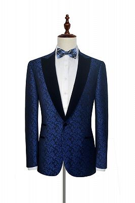 Luxury Blue Floral Patter Tuxedos for Wedding | Black Velvet Peak Collar Cheap Prom Suits_3