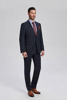 Brett Elegant Navy Blue Jacquard Mens Suits for Business_2