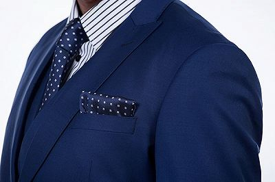 Premium Peak Lapel Navy Blue Three Piece Suits for Men with Double Breasted Vest_6