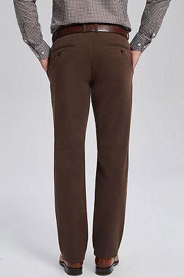 Lane Brown Cotton Straight Mens Business Pants_3