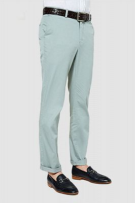 Light Mint Cotton Pants Summer Mens Daily Casual Trousers_2