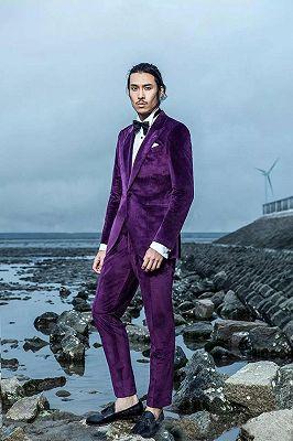 Velvet Mens Suits for Prom   Peak Lapel Wedding Tuxedo for Groom_1