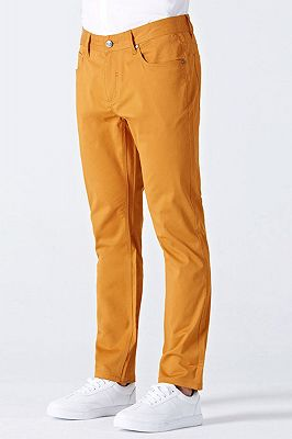 Orange Cotton Made-to-Order Solid Mens Casual Trousers_2