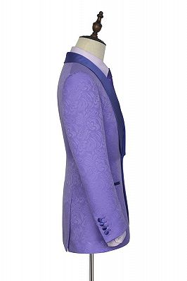 Lavender Jacquard Silk Shawl Lapel Bespoke Prom Suits_3
