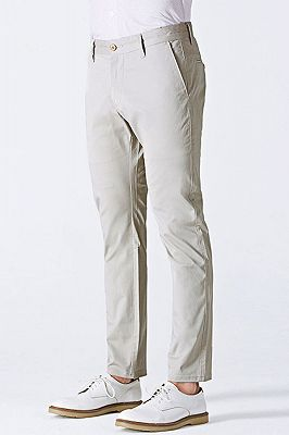 Simple Cotton Off-White Mens Casual Pants for Daily_2