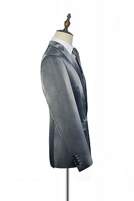 Shiny Silver Tailored Prom Suits Cheap | Glittering Peak Lapel Custom Suits for Men_4