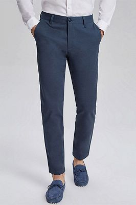 Dark Navy Cotton Fashionable Mens Casual Ninth Pants_1