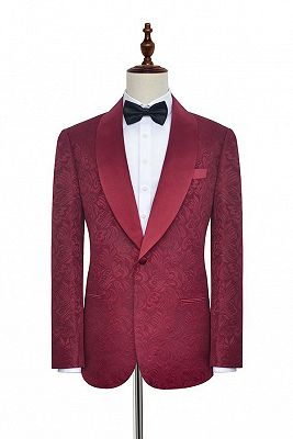 Luxury Burgundy Jacquard One Button Silk Shawl Lapel Mens Suits for Wedding and Prom_1