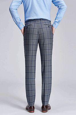 Keith Stylish Plaid Grey Formal Mens Suit Pants_3