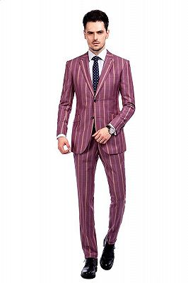 Modern Check Patten Red Purple Mens Suits_1