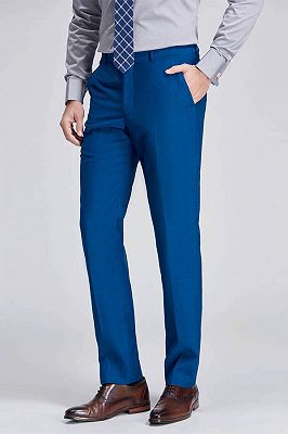 Emiliano Stylish Solid Blue Straight Suit Pants for Men_2