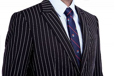 Tristen Modern Stripes Mens Leisure Suits   Black Suits for Prom_5