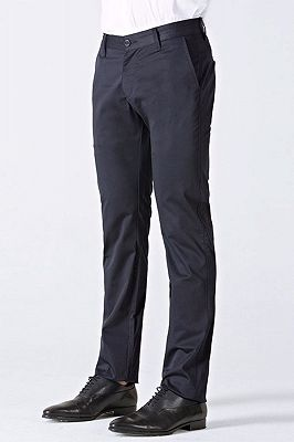 Classic Dark Navy Cotton Straight Mens Suit Pants for Business_2
