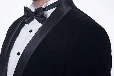 Premium Silk Shawl Lapel Black Velvet Mens Suits Tuxedos for Winter_6