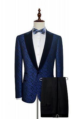 Luxury Blue Floral Patter Tuxedos for Wedding | Black Velvet Peak Collar Cheap Prom Suits_1