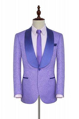 Lavender Jacquard Silk Shawl Lapel Bespoke Prom Suits_1