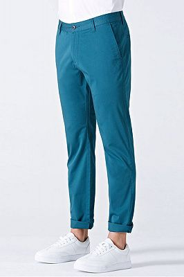 Casual Blue Cotton Solid Daily Mens Ninth Pants_3