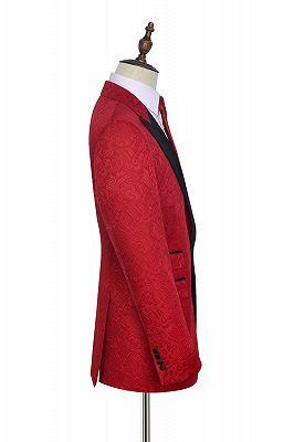 Bright Red Jacquard Peak Lapel with Black Silk Unique Mens Suits_2