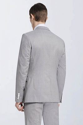 Small Notch Lapel Light-colored Stripes High Quality Light Grey Mens Suits_3