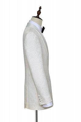 Popular Jacquard White Tuxedos for Wedding | Silk Shawl Lapel One Button Wedding Suit for Men_4