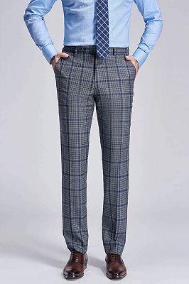 Keith Stylish Plaid Grey Formal Mens Suit Pants_1