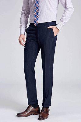 Light Grey Pinstripe Stylish Dark Navy Men's Suit Pants for Formal_2