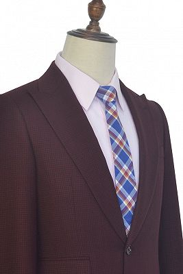 Peak Lapel Burgundy Suits for Men | One Button Business Suits for Formal_4