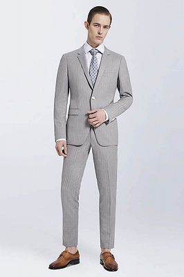 Small Notch Lapel Light-colored Stripes High Quality Light Grey Mens Suits_1