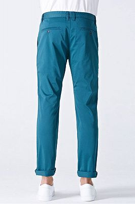 Casual Blue Cotton Solid Daily Mens Ninth Pants_2