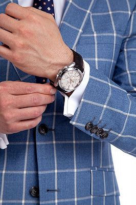 Light-colored Plaid Blue Fashionable Mens Suits for Formal_6