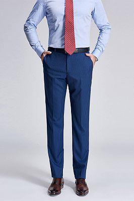 Stylish Pinstripes Blue Suit Pants for Men_1