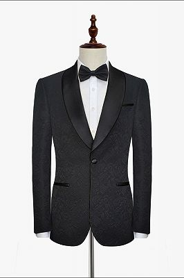 Classic Black Jacquard Wedding Tuxedo for Men | Shawl Lapel Silk One Button Wedding Suits_3